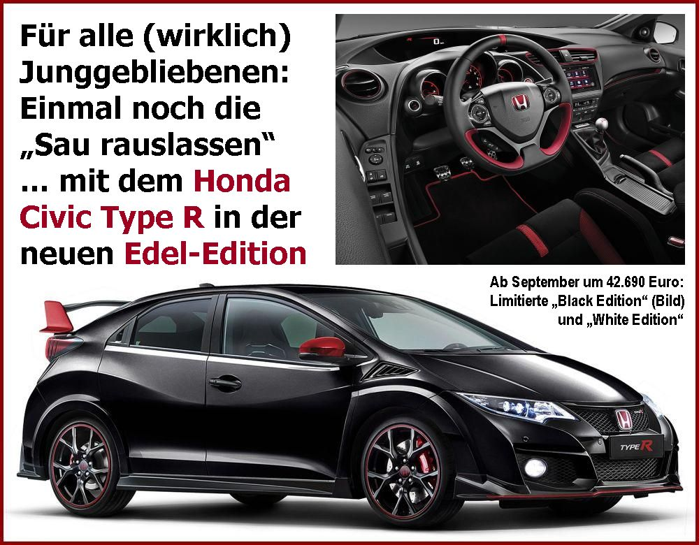 honda civic type r edition renault dacia aktionen auto. Black Bedroom Furniture Sets. Home Design Ideas
